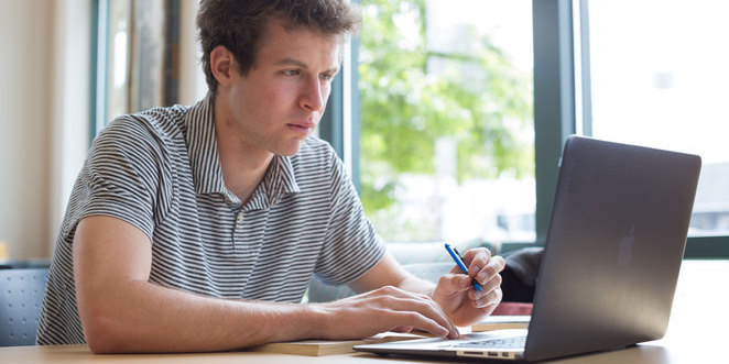 College student on laptop